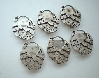 Vintage steampunk watch parts, 6 watch back plates (L18)