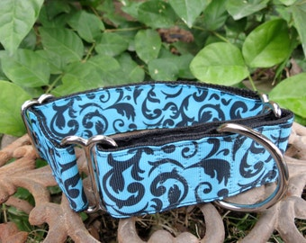 Turquoise and Black Swirl Martingale Dog Collar (Med)