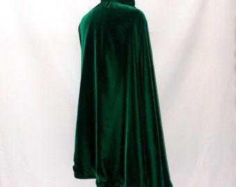 Green Velvet Cape with Gold Silk Brocade  Lining