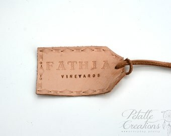 Leather Luggage Tag, Mudroom Storage Tags, Custom Embossed Tags, Leather  Labels, Custom Leather Labels