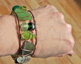 Shades of Green Sea Glass Bangle Bracelet