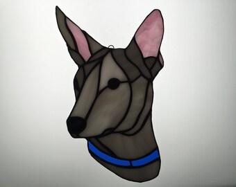 Xoloitzucintli Suncatcher in Stained Glass Xolo, Mexican Hairless Dog