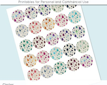 "Watercolor Raindrops Digital Collage Sheets 1 in 1.25"" and 1.5"" Circles Printable Download for Pendant Magnet Bottle Cap Necklaces Craft JPG"
