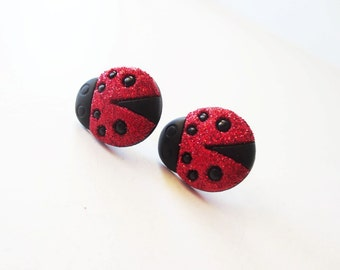 Red ladybug earrings. Red earrings. Insect earrings. Glitter ladybugs. Ladybug stud earrings. Ladybug post earrings. Ladybird earrings.