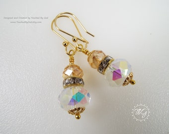 Earrings · Czech Crystal Earrings · Crystal AB Rondelle · Golden Shadow Rondelle  · Rhinestone Roundelle  · Gift for Her · Jewelry