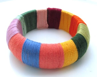 Colorful Wide Bangles - Handmade Wrapped Bracelets