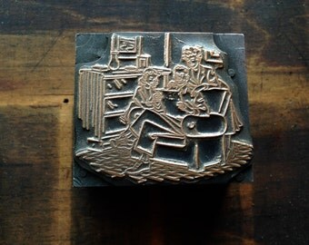 Antique Copper Printers Block - Family reading the newspaper together