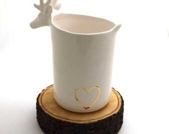 white ceramic deer with 22 K gold accent , can be personalized , wine bucket or centerpiece , gifts under 50 , christmas wedding