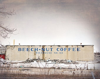 Urban Decay Photograph, Industrial Photography, Abandoned Factory, Beech-nut Coffee, Warehouse Photograph, Masculine, Kitchen, Rustic