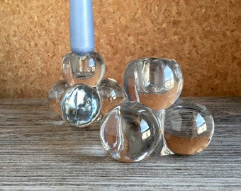 Vintage Crystal Glass Candle Holders - MCM Danish or Swedish Design - Elegant Classic Dinner Party Chic - Pair - Crystal Bowling Ball Stack