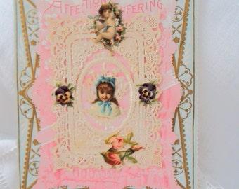 antique Victorian Valentine - owls, cherub, pansies, paper lace - stamped envelope