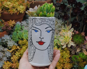 ceramic vase flower vase bud vase 1920's art deco lady