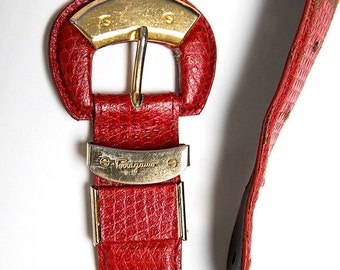 35% OFF SUMMER SALE The Vintage Red Salvatore Ferragamo Leather Belt