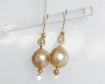 kasumi pearl dangle earrings, white, grey, golden south sea, Tahiti, black Tahiti, pick your color