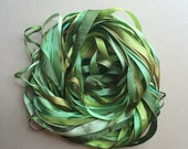 Silk Ribbon Remnants - Green and Brown
