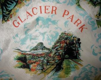 Vintage Glacier Park Montana Tourist Scarf