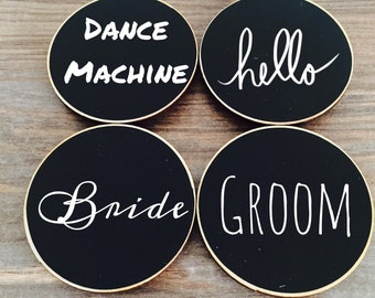 6 Circle {BLANK} Chalkboard Name Tags, Wedding Chalkboard Place Cards, Name Tags for Meetings and Corporate Events, Retail Name Tags