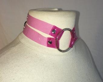 Pink PVC Choker Harness