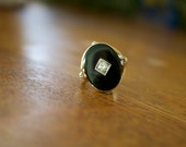 Art deco Vintage unique engagement ring circa 40's Black Onyx 14k gold genuine .5 carats diamond