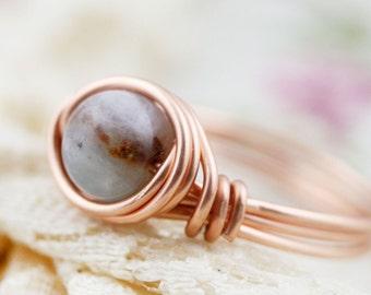 Confidence - amazonite wire wrapped ring (E) (SR)