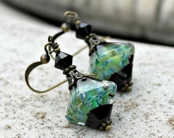 Teal Lampwork Glass Earrings - Swarovski Crystal, Antique Brass, Green, Blue, Black, Ocean