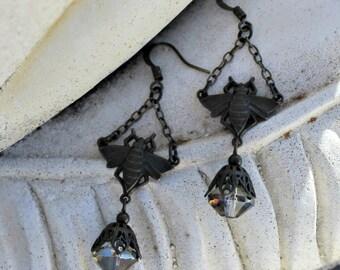 Antique Brass Art Deco Earrings, Bee Jewelry, Black Brass, Sapphire Blue Czech Glass, Dangle Earrings