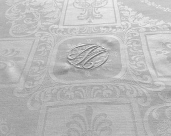 "Irish Linen Damask Tablecloth 140"" Banquet Size Monogram M or W"