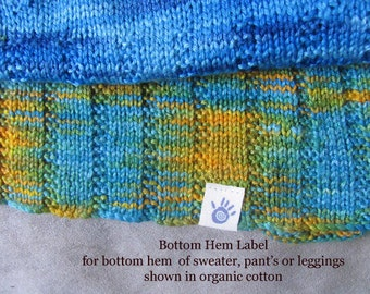 Small Bottom or Top Hem labels in Organic Cotton or Herringbone Twill