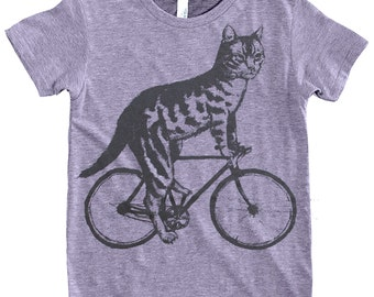 Cat on a Bike - Youth 8 10 12 Tri Grey American Apparel T Shirt