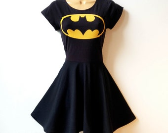 Batman Batgirl Dress Plus Size // Batman Cosplay Fit and Flare Rockabilly Pin Up Girl Dress