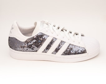 Tiny Sequin | Limited Edition Steel Grey Starlight Sequin Adidas Superstars II Fashion Sneakers Shoes