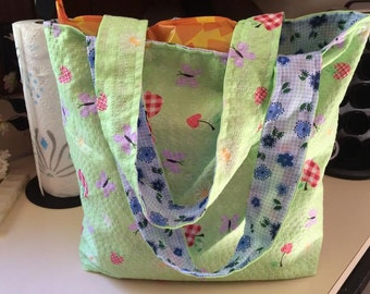 Apples, Butterflies,  Reusable,  Grocery bag, Market Bag, reusable bag, green
