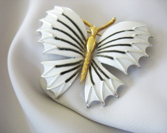 White Butterfly Brooch Pin Enamel Goldtone Body Black Accent 1970s