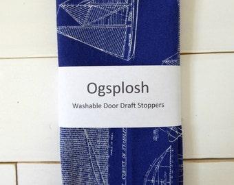 Blue Door Draft Stopper - Blue Door Snake - Nautical Theme - Modern Home Decor - Sailboat Print. 222