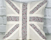 Pastel Union Jack Pillow Gray Pink and White Union Jack Flag Pillow