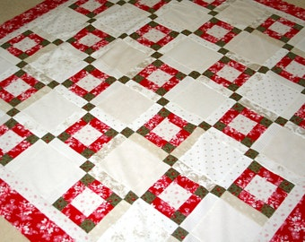 Quilt Top  Clearance Sale Christmas Inspired  Modern Vintage style Lap size