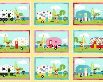 Camper Panel Fabric- Adorable- Henry Glass 15 Trailer, RV Squares- Cotton, Multi Colored!