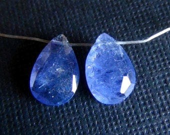 35% OFF Periwinkle blue Tanzanite Faceted Pear briolette