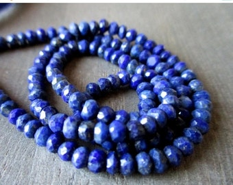 35% OFF Lapis faceted rondelle- 3.5mm- 7 inch