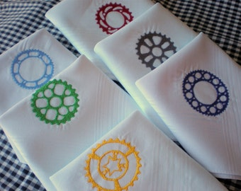 GEARS Sprocket Steampunk gift.  6 Colors.  Cotton  Hankies-set of 2- embroidered Hankerchiefs -Men Ladies Gearheads