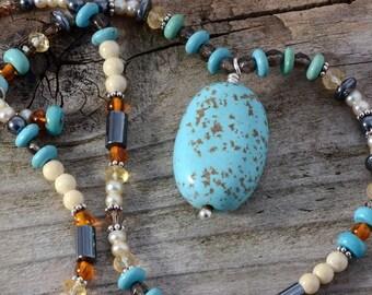 Turquoise necklace pendant semiprecious natural stone jewelry unusual bohemian jewelry genuine stone citrine hematite pearl beaded necklace