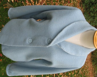Light Blue Wool Blanket Swing Jacket