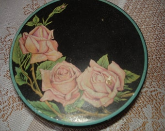 Vintage Rose Tin / Black and Pink/ Pink Roses / Turquoise Trim /Dresser Pretty / Storage/ Sewing Tin / Button Tin /PRETTY