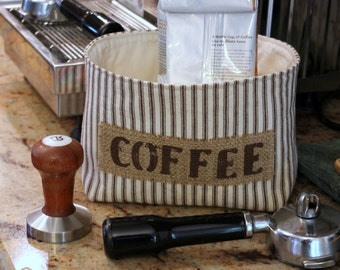 Fabric Coffee Basket in a Brown Ticking Stripe with a Burlap Label