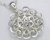SALE Made In Alaska Argentium Sterling Silver Filigree Snowflake Mandala Pendant Made In Alaska Jewelry Free Worldwide Shipping