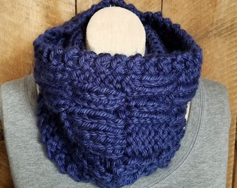 Blue Knit Cowl, Bohemian Fashion, Winter Scarf, Knit Scarf, Blue Cowl, Hand Knit Cowl, Boho Chic, Chunky Knit, bailybelle