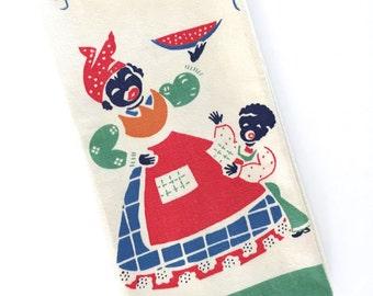 Vintage Black Americana Dish Towel Mammy Boy Watermelon