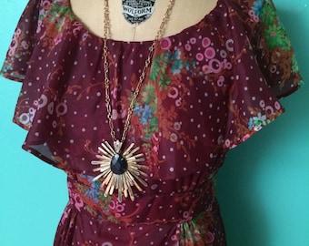 1970's beautiful bordeaux floral print maxi dress MEDIUM/LARGE