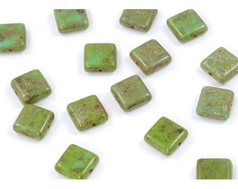 Rustic Green Turquoise Czech Glass Square Tile Beads 10mm  - 15