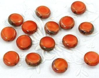 Satiny Orange Picasso Window Coin Czech Glass Beads 11mm - 15
